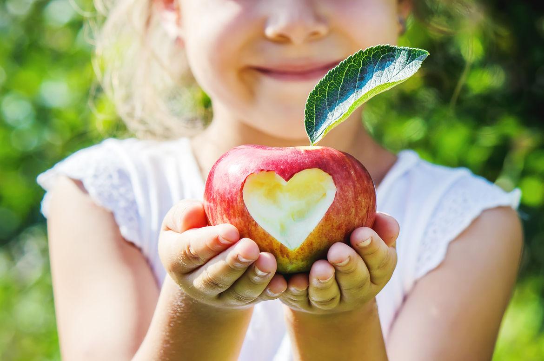 Das Bild zeigt ein Mädchen, das einen Apfel mit einem eingeritzten Herz in ihren Händen hält.  - Copyright: © yanadjan